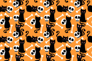 Black Cat and Skull Seamless Pattern Graphic Patterns By thanaporn.pinp