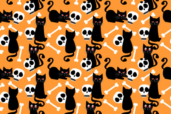 Download Free Black Cat And Skull Seamless Pattern Grafico Por Thanaporn Pinp SVG Cut Files