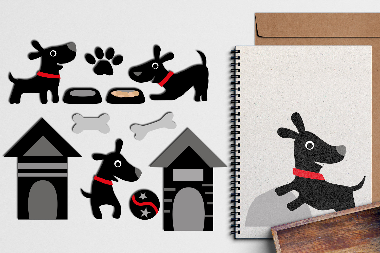 Download Free Black Dog Graphic By Revidevi Creative Fabrica for Cricut Explore, Silhouette and other cutting machines.