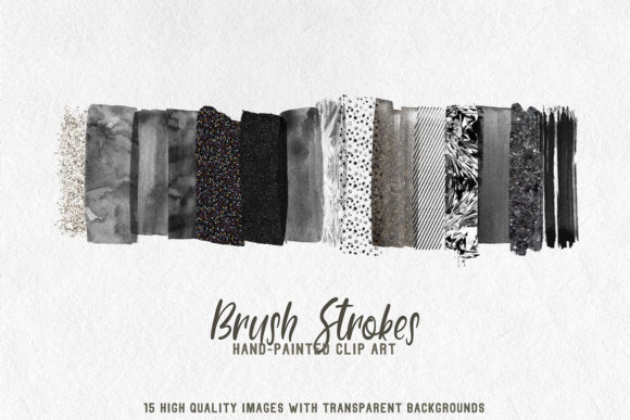 Print on Demand: Black Palette Brush Strokes Clipart Graphic Textures By lovalu - Image 1