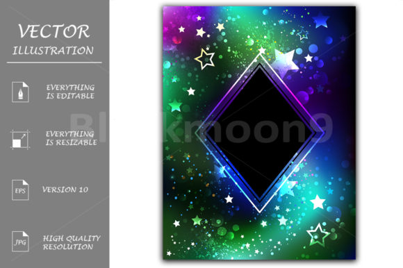 Black Rhombus with Northern Lights Graphic Illustrations By Blackmoon9 - Image 1