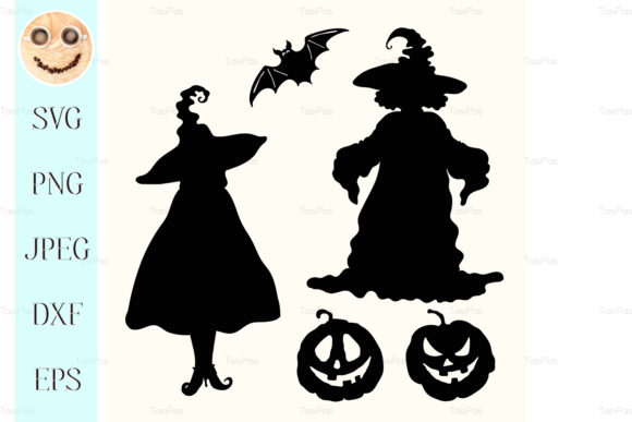 Print on Demand: Black Silhouette Witch Graphic Illustrations By TasiPas