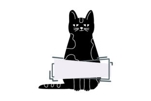Black Cat Standing with Blank Banner Craft Design By Creative Fabrica Crafts