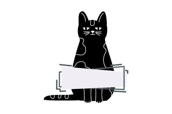 Black Cat Standing with Blank Banner Cats Craft Cut File By Creative Fabrica Crafts - Image 1