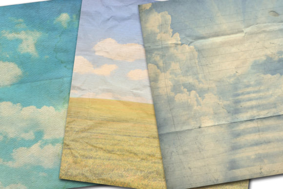 Print on Demand: Blue Sky Paper Graphic Backgrounds By retrowalldecor - Image 2