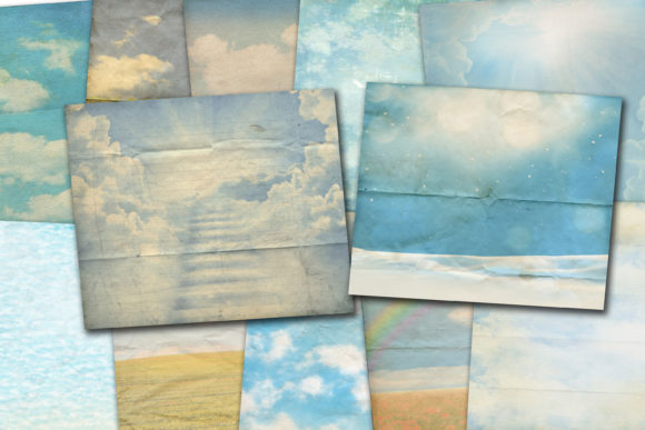 Print on Demand: Blue Sky Paper Graphic Backgrounds By retrowalldecor