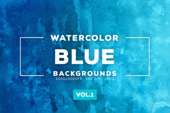 Print on Demand: Blue Watercolor Backgrounds 1 Graphic Backgrounds By ArtistMef