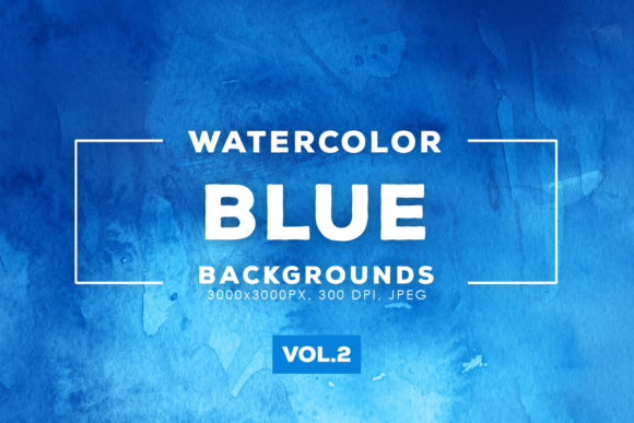 Print on Demand: Blue Watercolor Backgrounds 2 Graphic Backgrounds By ArtistMef
