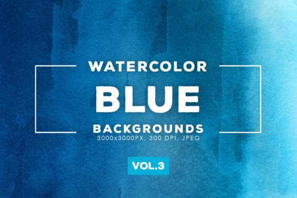 Print on Demand: Blue Watercolor Backgrounds 3 Graphic Backgrounds By ArtistMef