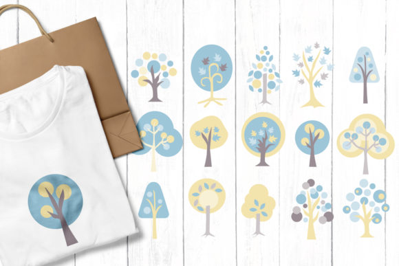 Print on Demand: Blue Trees Graphic Illustrations By Revidevi