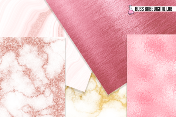 Print on Demand: Blush Pink and Gold Glam Digital Papers Graphic Textures By bossbabedigitallab - Image 2