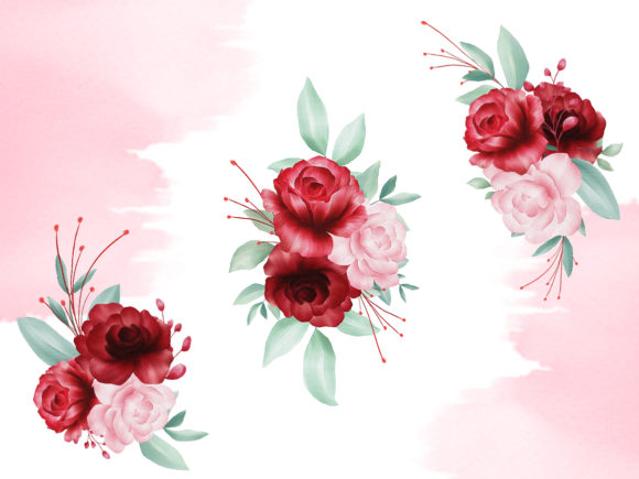 Print on Demand: Blush Roses Watercolor Flowers Clipart Graphic Illustrations By KeepMakingArt