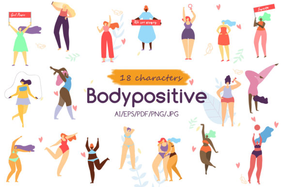 Body Positive Flat Collection Graphic Illustrations By teravector