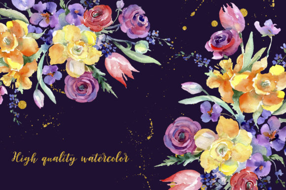 Bouquet Flowers Colorful Mix Watercolor Graphic By MyStocks Image 6