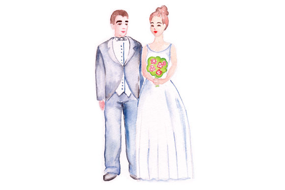 Bride and Groom in Watercolor Wedding Craft Cut File By Creative Fabrica Crafts