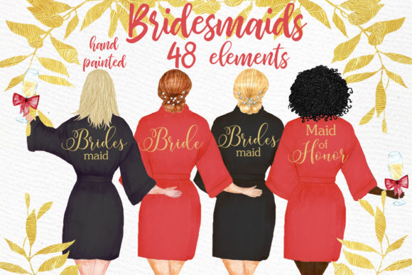 Bridesmaid Wedding Robes Clipart Graphic Illustrations By LeCoqDesign
