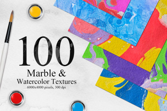 Bright Marble&Watercolor Backgrounds Graphic Textures By NassyArt