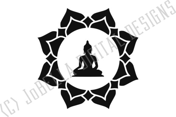 Download Free Buddha In Lotus And Sublimation Grafico Por Jobella Digital for Cricut Explore, Silhouette and other cutting machines.
