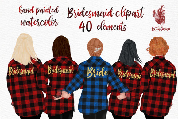 Buffalo Plaid Wedding Robes Clipart Graphic Illustrations By LeCoqDesign