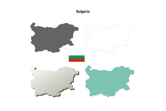 Bulgaria Outline Map Set Graphic Illustrations By davidzydd