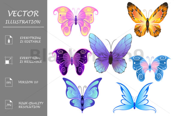 Butterflies Graphic Illustrations By Blackmoon9
