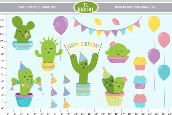 Download Free Cactus Party Clipart Set 22 Graphics Graphic By Tl Digital for Cricut Explore, Silhouette and other cutting machines.