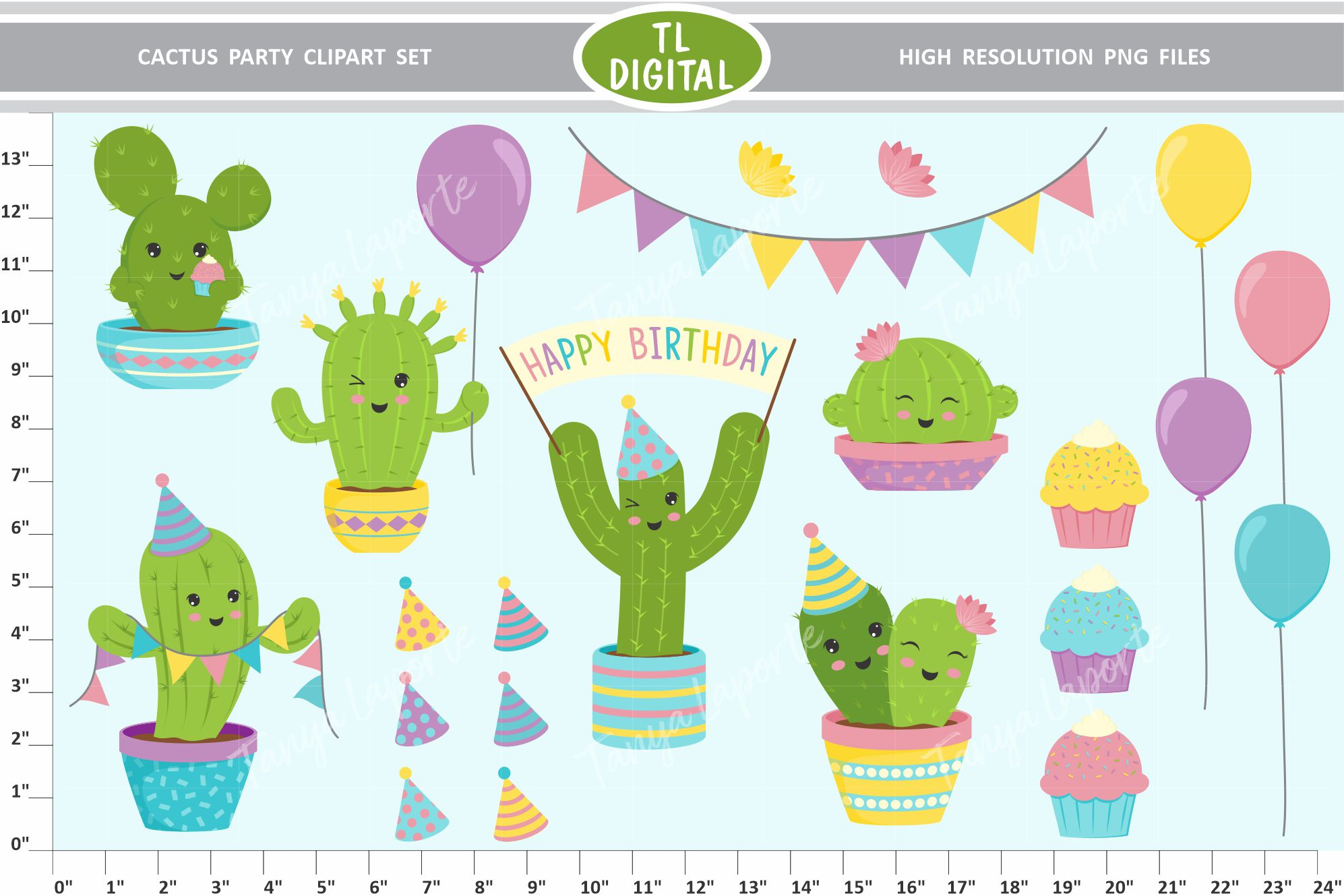 Download Free Cactus Party Clipart Set 22 Graphics Graphic By Tl Digital SVG Cut Files