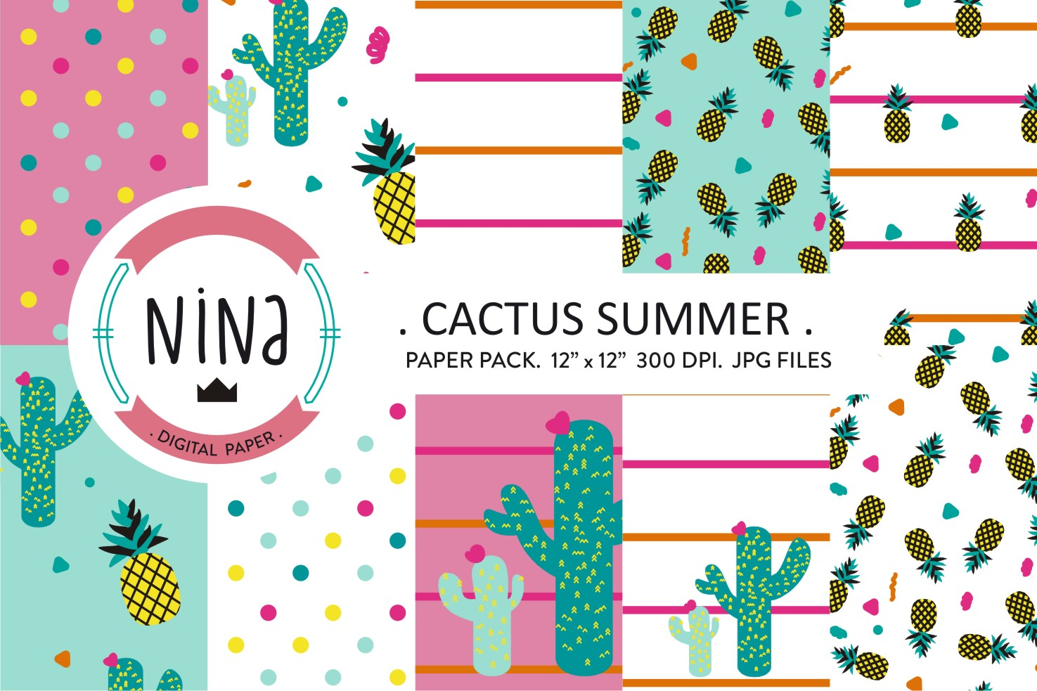Download Free Cactus Wrapping Paper Cactus Paper Pack Graphic By Nina Prints for Cricut Explore, Silhouette and other cutting machines.