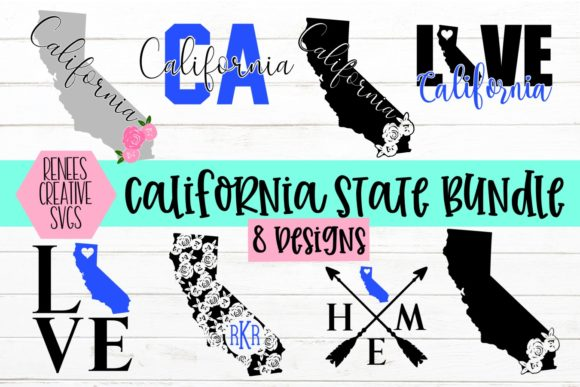 Print on Demand: California State Bundle Graphic Crafts By ReneesCreativeSVGs