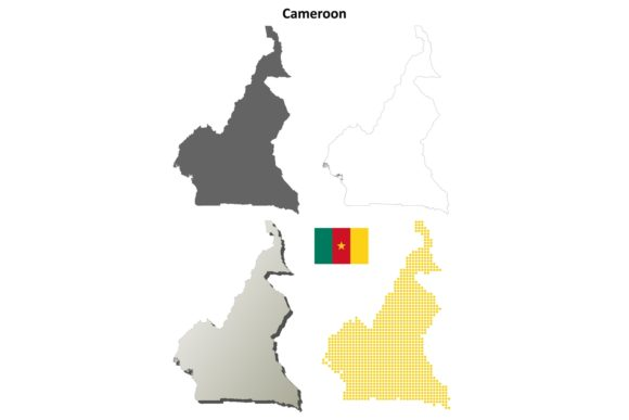 Cameroon Outline Map Set