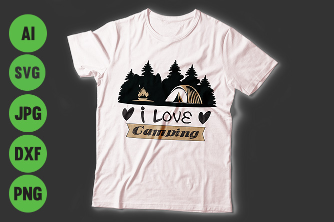 Download Free Camping T Shirt Design Graphic By Storm Brain Creative Fabrica for Cricut Explore, Silhouette and other cutting machines.