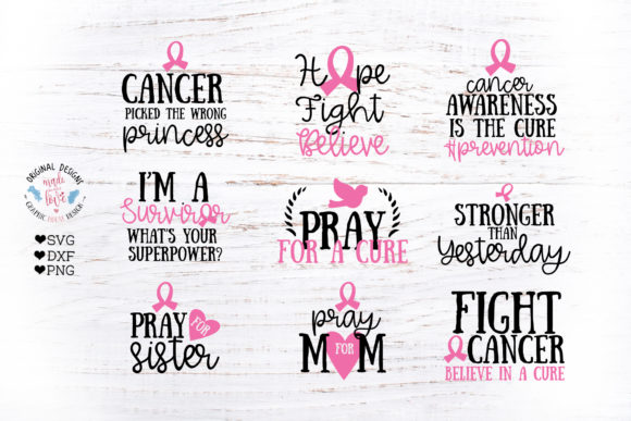 Print on Demand: Cancer Awareness Bundle Gráfico Crafts Por GraphicHouseDesign