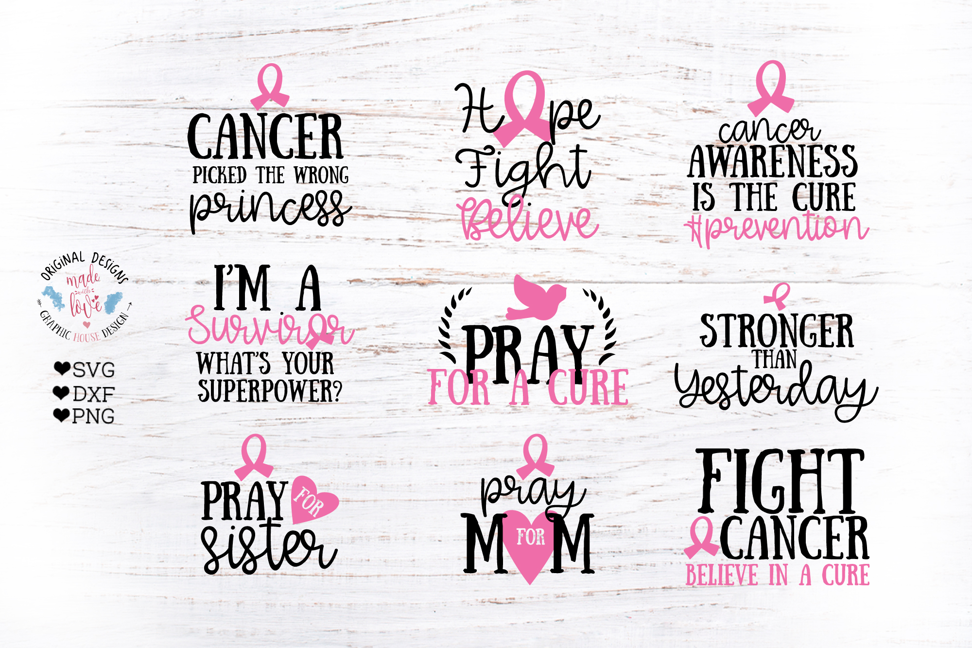 Download Free Cancer Awareness Bundle Graphic By Graphichousedesign Creative for Cricut Explore, Silhouette and other cutting machines.
