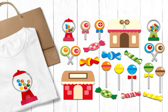 Print on Demand: Candyland Party Graphic Illustrations By Revidevi