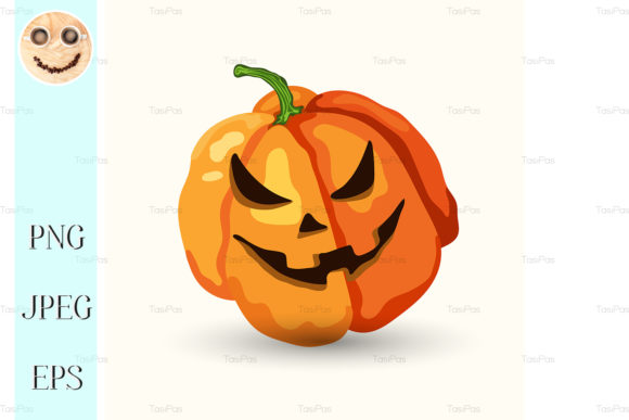 Print on Demand: Cartoon Halloween Horribly Face Pumpkin Graphic Illustrations By TasiPas