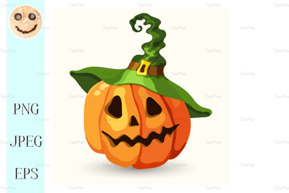 Download Free Cartoon Halloween Pumpkin Wearing Hat Grafik Von Tasipas for Cricut Explore, Silhouette and other cutting machines.