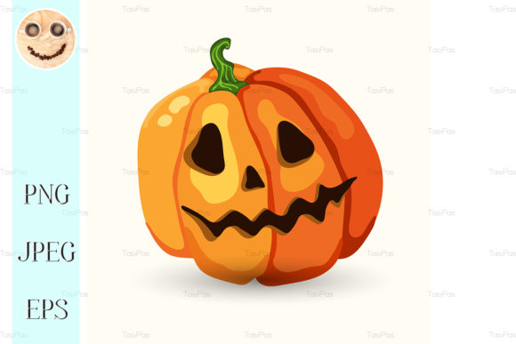 Print on Demand: Cartoon Halloween Scary Face Pumpkin Graphic Illustrations By TasiPas