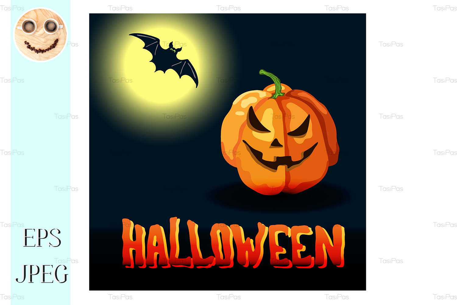 Download Free Cartoon Halloween Title Moon Pumpkin Grafico Por Tasipas for Cricut Explore, Silhouette and other cutting machines.