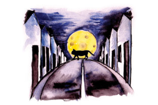 Cat Crossing Street in Watercolor Halloween Craft Cut File By Creative Fabrica Crafts