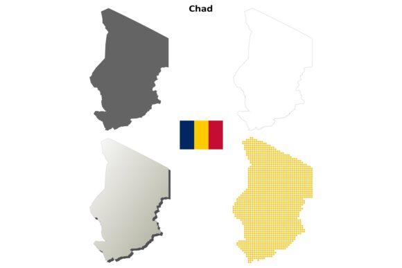 Chad Outline Map Set Graphic Illustrations By davidzydd