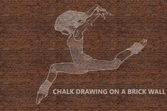 Chalk Drawing on Brick Wall - Ps Action Graphic Actions & Presets By iTraitArt