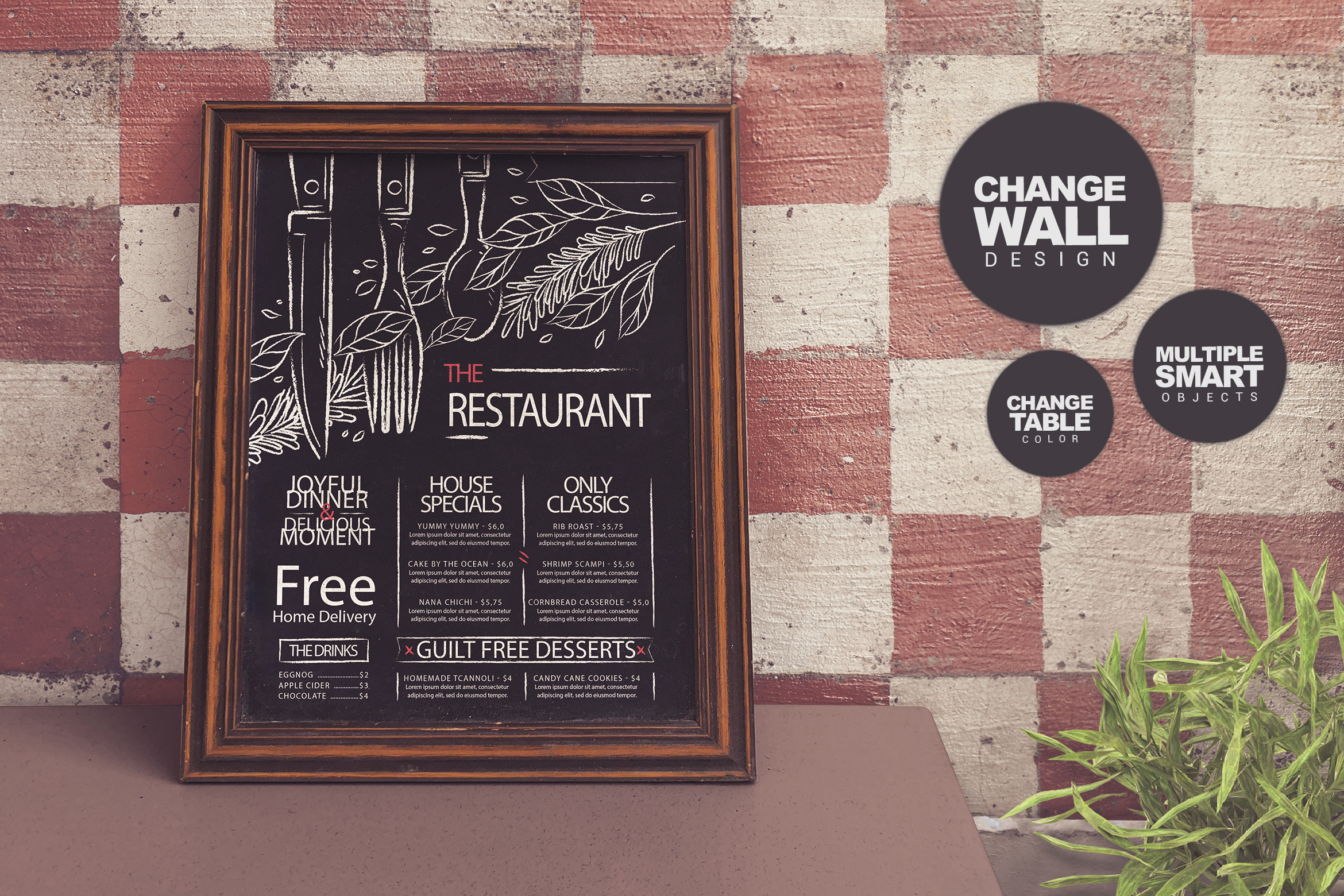 Download Free Chalkboard Restaurant Mockup Graphic By Smartdesigns Creative for Cricut Explore, Silhouette and other cutting machines.