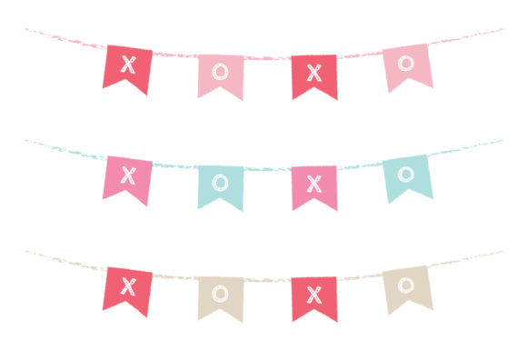 Print on Demand: Chalkboard XOXO Valentine Banner Graphic Objects By Running With Foxes - Image 4