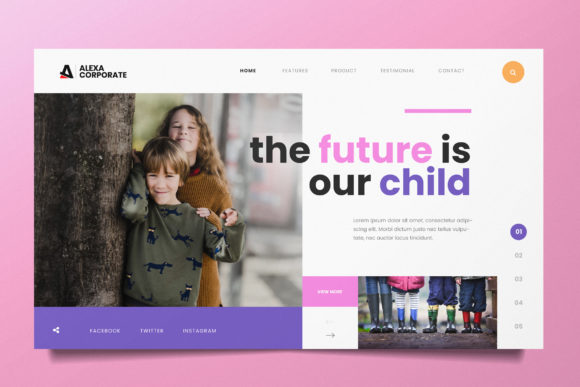 Children Education Web Header PSD and AI Graphic UX and UI Kits By alexacrib83