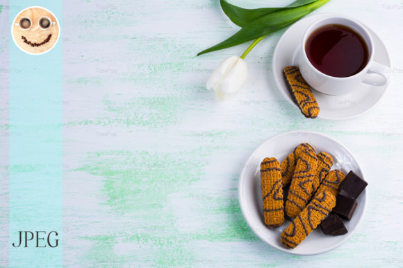 Print on Demand: Chocolate Biscuits and Cup of Tea Graphic Food & Drinks By TasiPas