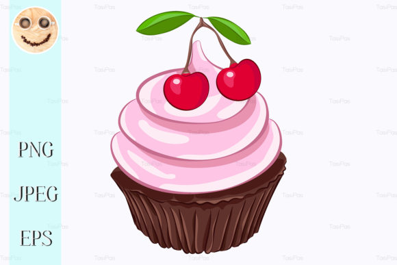 Print on Demand: Chocolate Cupcake with Cherry Graphic Illustrations By TasiPas