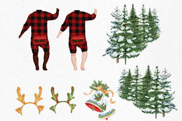 Christmas Babies Dogs Clipart Pajamas Graphic Illustrations By LeCoqDesign - Image 2