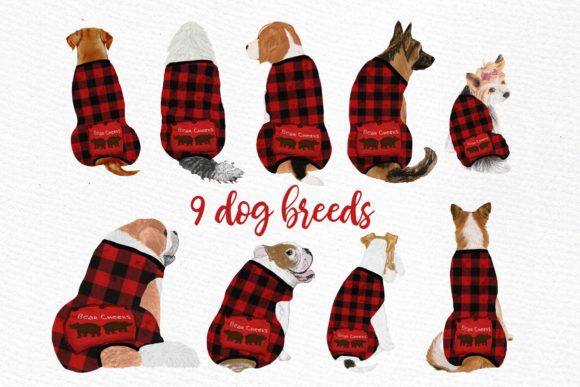 Christmas Babies Dogs Clipart Pajamas Graphic Illustrations By LeCoqDesign - Image 4