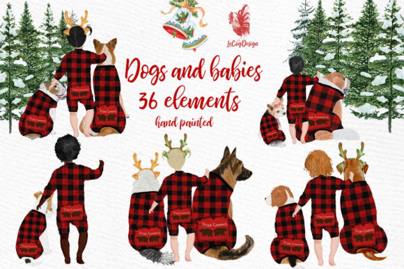 Christmas Babies Dogs Clipart Pajamas Graphic Illustrations By LeCoqDesign