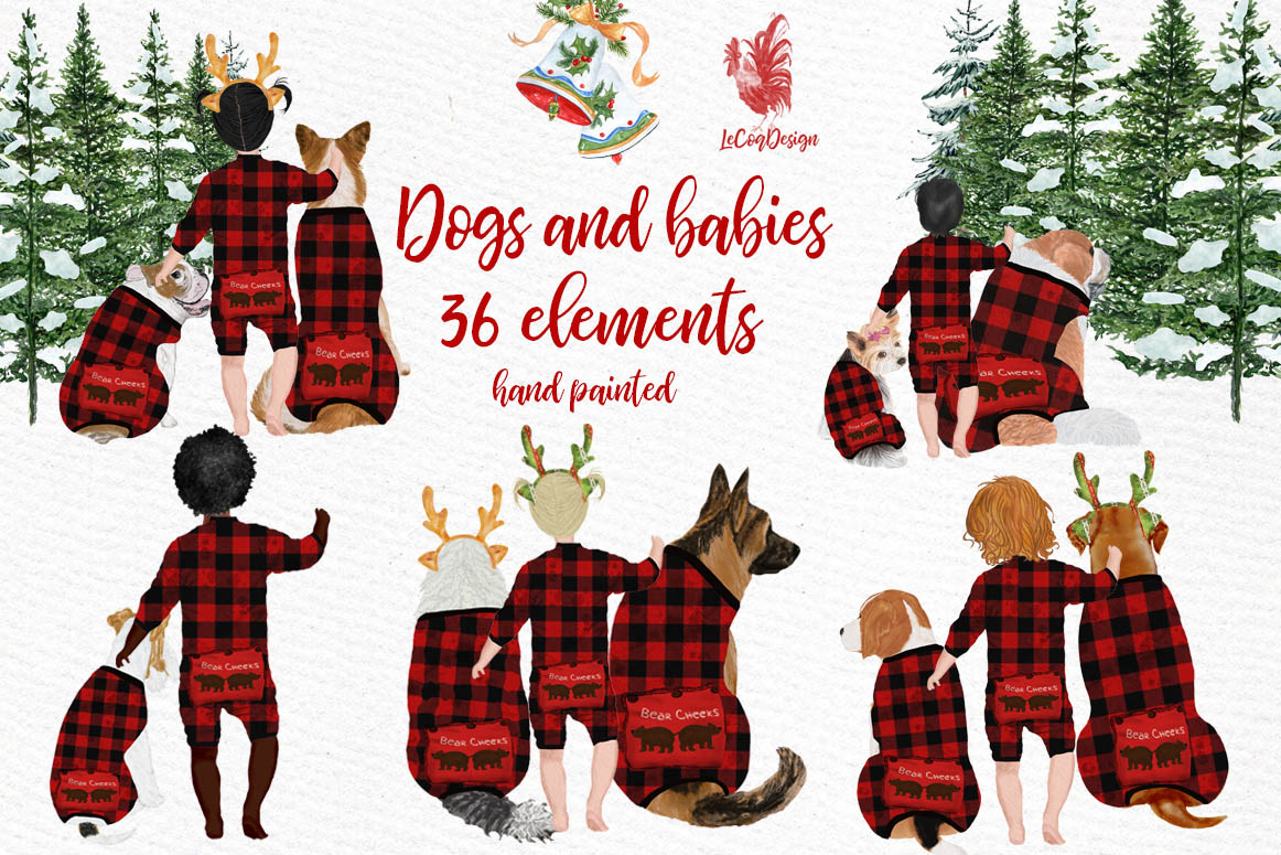 Christmas Babies Dogs Clipart Pajamas Graphic by ...